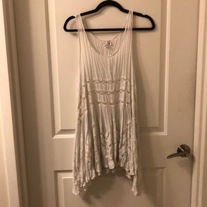 Free People White Voile And Lace Trapeze Slip